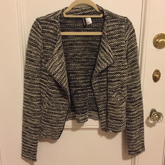 H&M Jackets & Blazers - Black and Cream Knit Biker Jacket/Blazer
